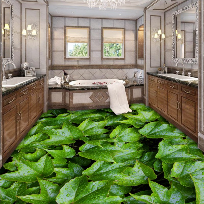 Free Shipping Fresh green leaf bathroom 3D floor thickened waterproof living room bedroom lobby office kitchen flooring mural