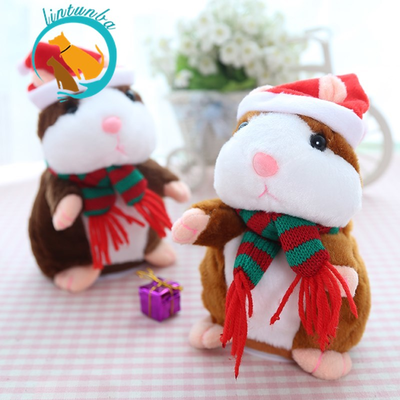 15cm Lovely Electric Talking Hamster Speak Talk Sound Record Repeat Stuffed Plush Animal Kawaii Hamster Toys For Chirstmas