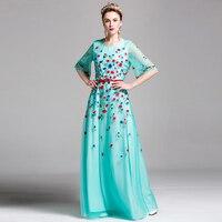 Classic Long Dresses 2017 Newest Women Half Sleeve Sky Blue / Navy Floral Embroidery Summer Elegant Belt Slim Maix Luxury Dress