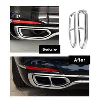 2Pc Stainless Steel Tail Exhaust Pipe Output Cover Trim Decoraton for BMW 7 Series G11 G12 2016 2017 2018 Car Stickers