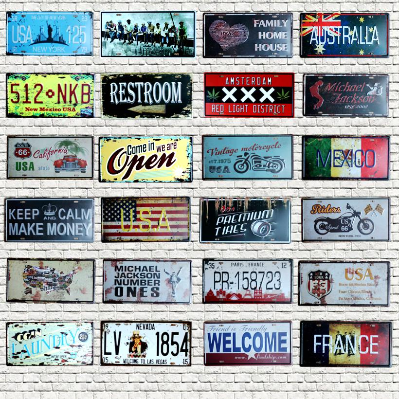 Number Plaque License Plate Tin Sign Wall Pub Shop Home Garage Art Decor Car Metal Poster 30X15CM B 7 in Plaques Signs from Home Garden