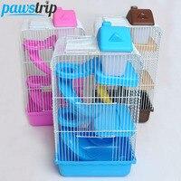 3-Level Plastik + Çelik Tel Küçük Hayvan Hamster Playhouse Komik Tekerlek Şişe Slayt Fare Gerbil Kafes Fare