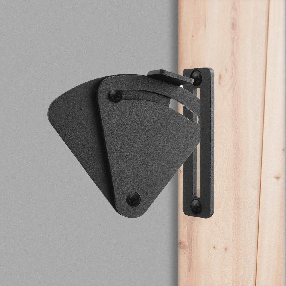 LWZH Black Carbon Steel Sliding Wood Latch Privacy Lock for Sliding Barn Door, Pocket Doors Garage and Shed Wood Gates