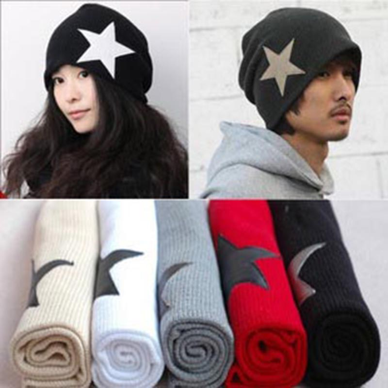 Five - Pointed Star Patchwork Winter Hat for Men Women New Unisex Stretch Cap Beanie Skullies Hip- Hop Hat Wool Knitted Hat unisex cotton hip hop hat with ring warm beanie cap in winter women knitted hats men and women skullies