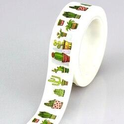 10 м DIY милые растения кактус японский васи лента декоративная клейкая лента маскирующая лента для украшения дома Скрапбукинг дневник