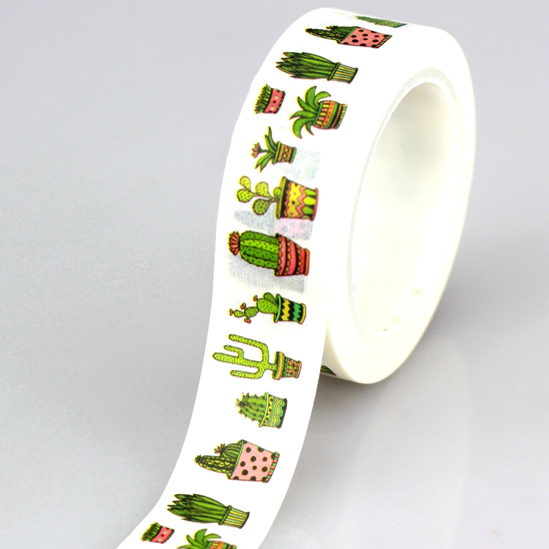 10M DIY Cute Cactus plants Japanese Washi Tape Decorative Adhesive Tape Masking Tape For Home Decoration Scrapbooking Diary student cute kawaii green plant washi tape colored flower masking adhesive tapes decorative stickers for diy diary 596