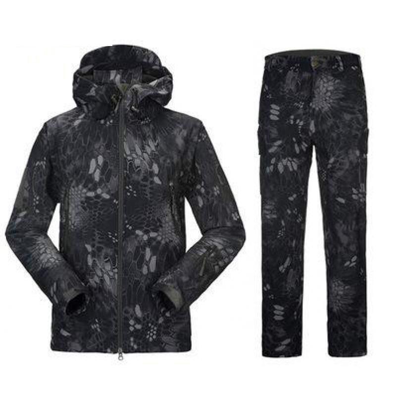 Lurker peau de requin coque souple uniforme militaire vêtements veste tactique pantalon hommes coupe-vent chaud Camouflage à capuche Camo armée costume