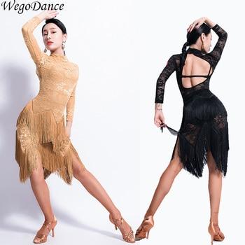 new sexy lace tassel Latin Dance Open Back Dance Dress ballroom dance competition dresses woman freeshipping