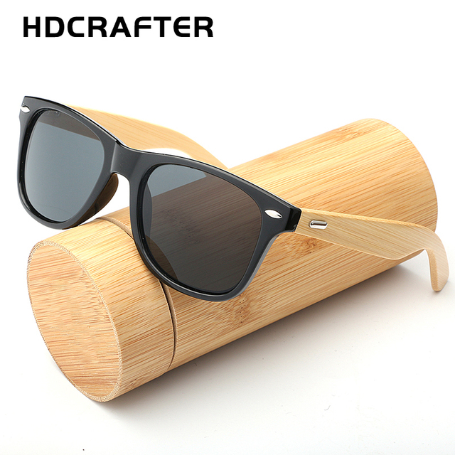 99d3f40109 HDCRAFTER brand bamboo sunglasses men fashion square sunglasses women  wooden frame mirrored sun glasses for men