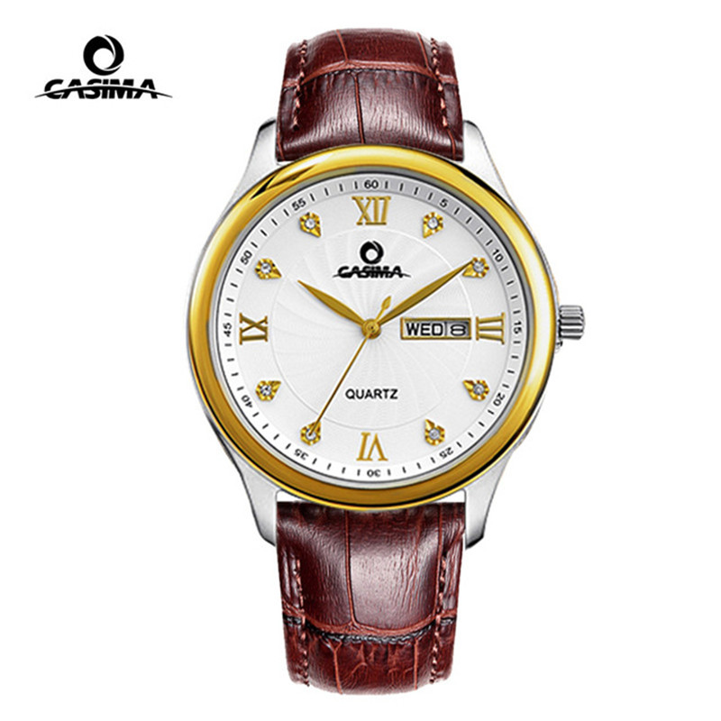 CASIMA 2018 New relogio masculino Leather Strap Men's Watch Men Gold Waterproof 5Bar Watches Top Brand Luxury Calendar Week casima top brand luxury men s watch men chinese style leather strap watches lover s clock relogio masculino