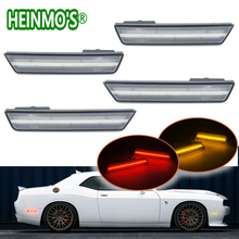 For Dodge Challenger 2008 2009 2010 2011 2012 2014 Front + Rear 2 Pairs Side Marker Lamps Turn Signals SMD Amber Red LED Lights
