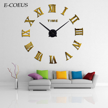 Spoon Fork Creative Quartz Wall Mounted Clocks Sticker 3D Large Number Exquisite Gift European Style