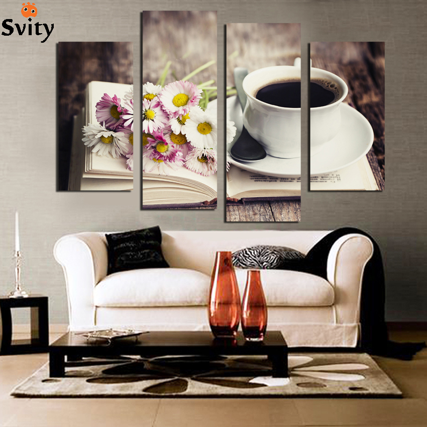Aliexpress Com Buy Free Shipping 3 Piece Wall Decor: Aliexpress.com : Buy Free Shipping 4 Piece Frower Coffee