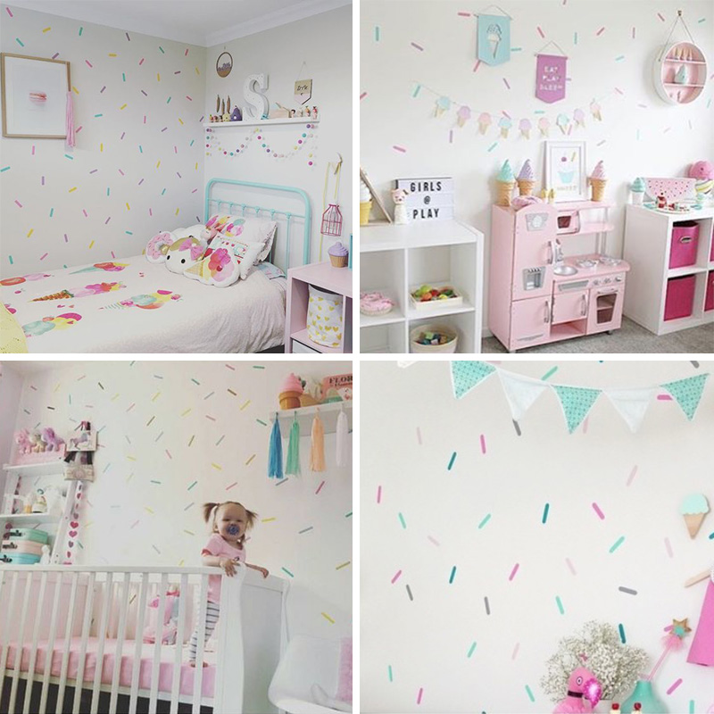 US $0.56 5% OFF|Sprinkles Decorative Stickers Baby Girl Room Wall Sticker  For Kids Room Holiday Party Room Decoration Children Wall Stickers-in Wall  ...
