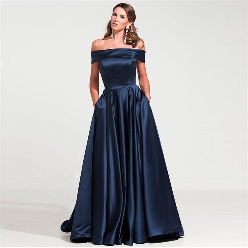 Gracieuse Satin épaule dénudée décolleté a-ligne bleu marine robes de soirée 2019 étage longueur Satin femmes robes de soirée formelles WL14
