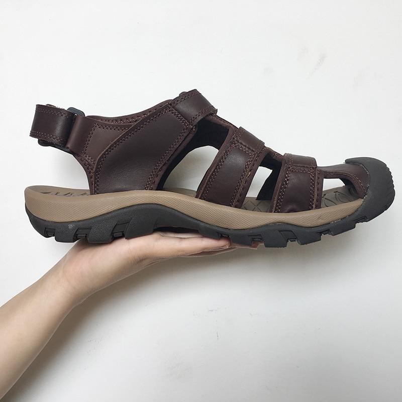 8426a700edc09 New 2018 Fashion Genuine Leather Sandals Men Beach Summer Shoes Non ...