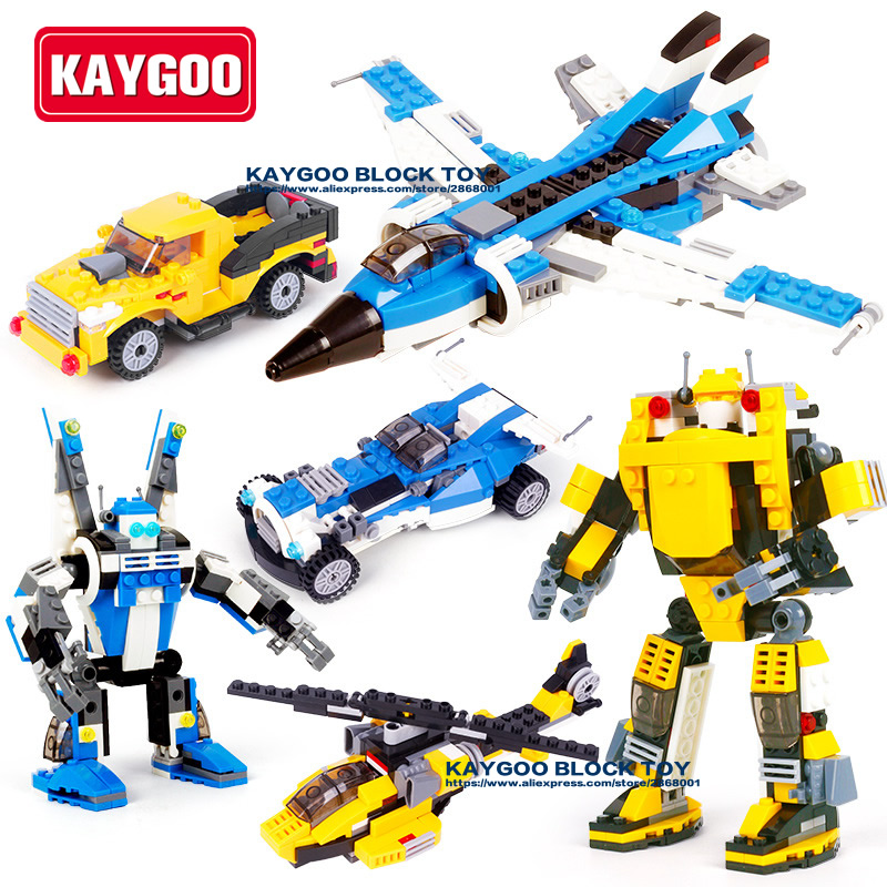 Kaygoo Military 3 in 1 Fighter Future Helicopter Robot super car truck bricks boy plane Set