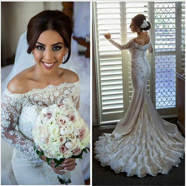 c5cab3cc1fde 2016 Off Shoulder Long Sleeves Mermaid Wedding Dresses Lace Pearls Beaded  Buttons Back Sexy Bridal Gowns
