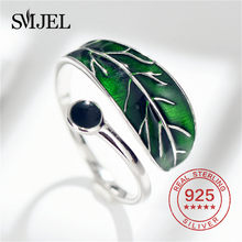 SMJEL Real 925 Sterling Silver Green Leaf Rings Men Women Fashion Enamel Blue Leaves Rings Adjustable Christmas Gift(China)