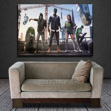 Wall Art Game Poster Decorative Framework Modern Artwork Canvas Print 1 Pieces Watch Dogs 2 Painting For Living Room Or Bedroom