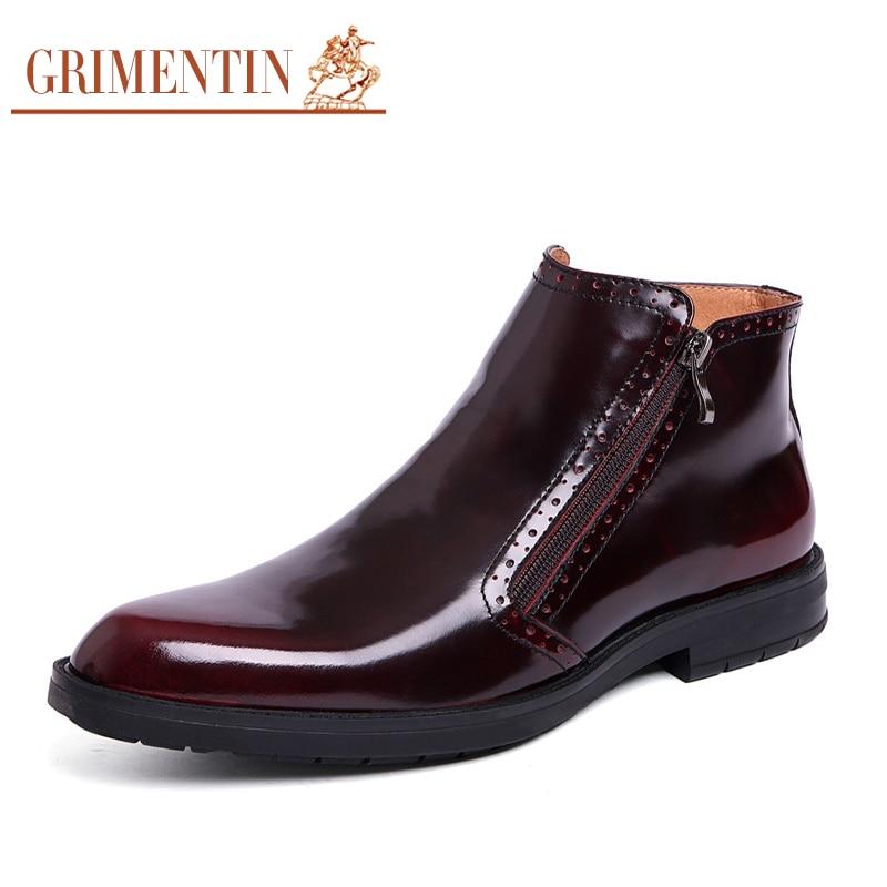 GRIMENTIN Hot Sale 2017 Fashion Designer Classic Men Ankle Boots Genuine Leather Winter Luxury Men Business Shoes Man Boots
