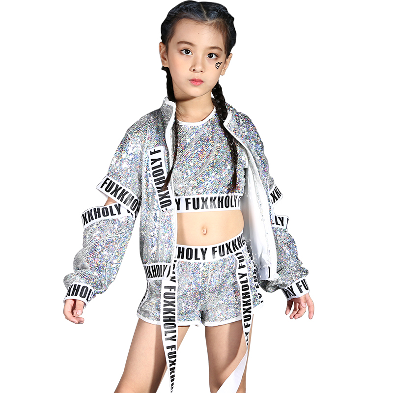 Children sequin costume girl new Jazz hip-hop costume girl autumn and winter modern dance suits jazz performance clothing sets