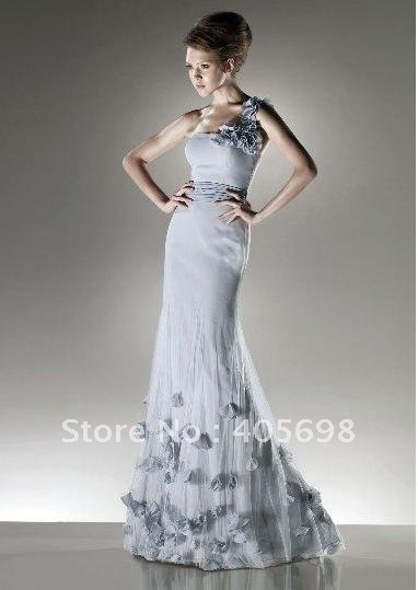 wholesale and retail hot sell one-shoulder grey blue flower evening dress many size
