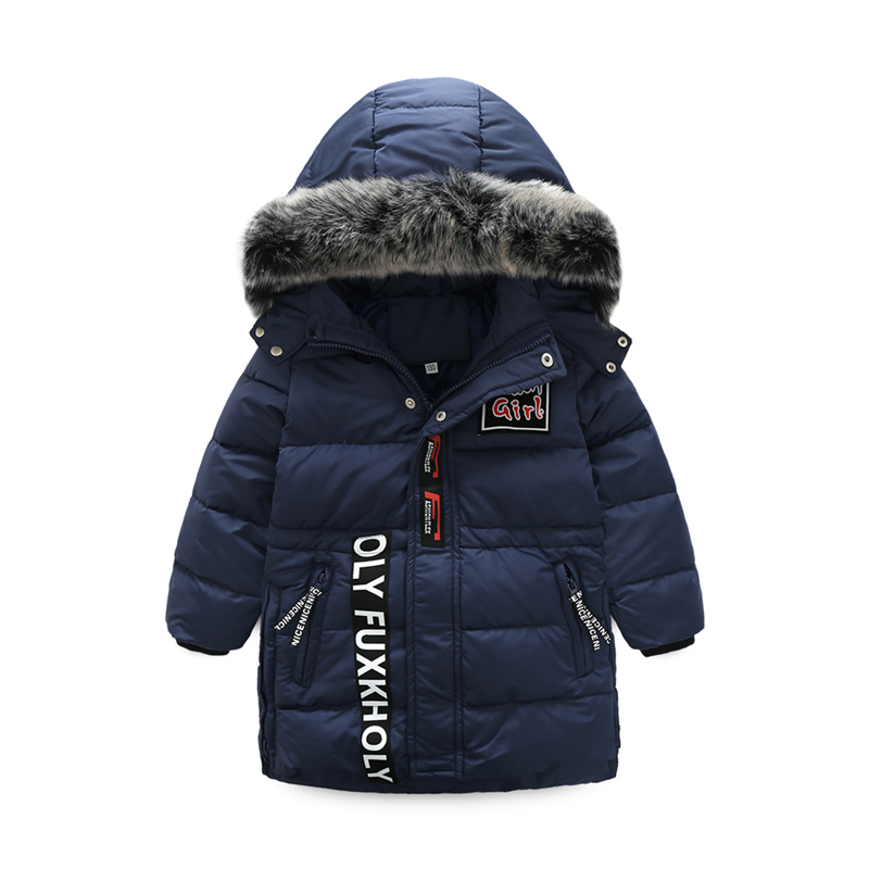 Boys down jacket new detachable cap and fur collar thick white warm duck down jacket russia winter boys girls down jacket boy girl warm thick duck down