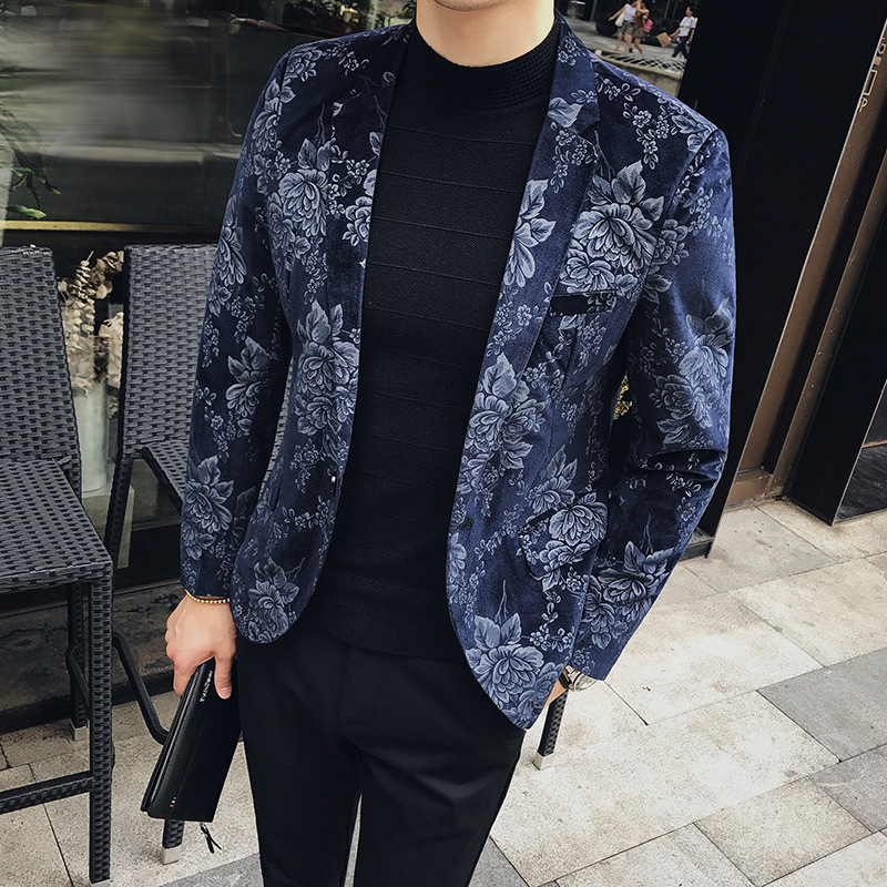 ... Stilvolle Blazer Für Männer Slim Fit Herren Blazer Muster Gedruckt  Blaser Homens Herren Blazer Persönlichkeit Jacke Schwarz Blau 3xlDie  Artikel ... 42a5495477
