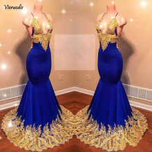 Royal Blue Mermaid Prom Dresses 2019 with Gold Lace Appliqued New African Beads Sequins Evening Gowns Women Sexy Reflective