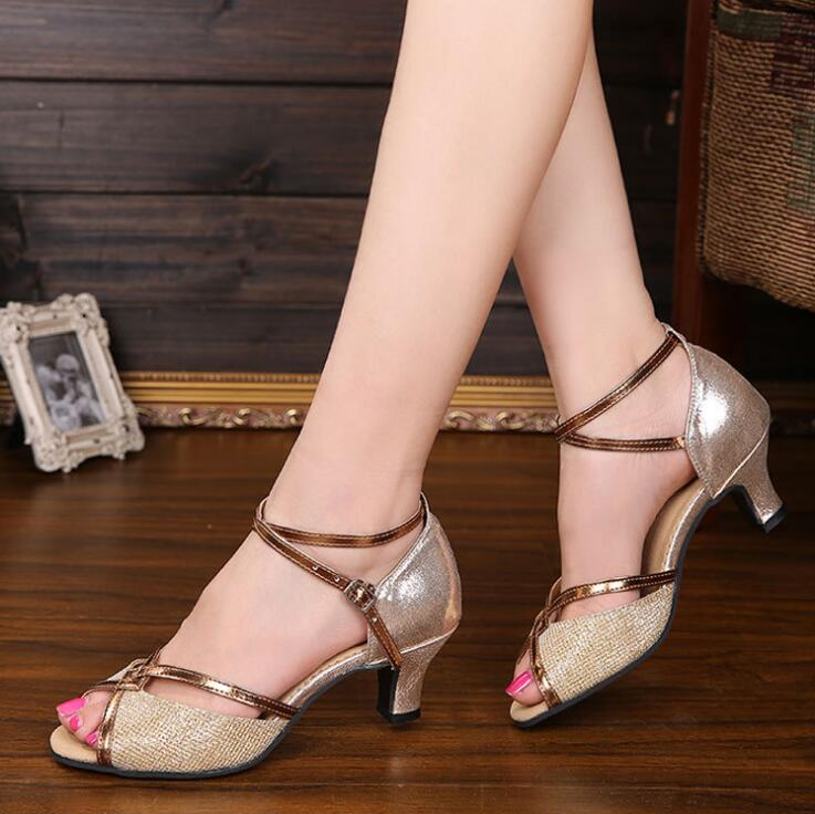 New Latin dance shoes female sandals summer adult ladies' shoes ballroom dancing soft bottom dance shoes 3CM/5CM A15 latin canvas dance women shoes female adult social modern shoes with leather soft soled shoes women square dance shoes