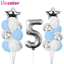 Lincaier أنا خمس كرافت ورقة راية 5 سنوات عيد ميلاد صبي فتاة 5th بالونات زينة الحفلات الخامسة الرايات جارلاند الوردي الأزرق