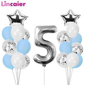 Image 1 - Lincaier I Am Five, крафт бумажный баннер, 5 лет, день рождения для мальчиков и девочек, 5 воздушных шаров, вечерние украшения, пятая бандана, гирлянда розового и синего цвета