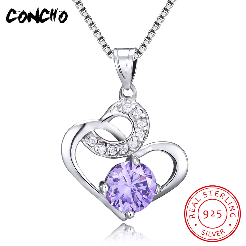 Concho Jewelry 925 Sterling Silver Heart Shape Zircon Necklace For Women Wedding Party Best Gift 2018 Hot Sale Pendant Necklace ayowei heart shaped 925 sterling silver rainbow zircon pendant necklace wedding gift sp75a