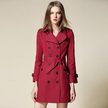 break code on sale Long sleeve double-breasted wine red long women's trench coat waterproof coat of cultivate morality