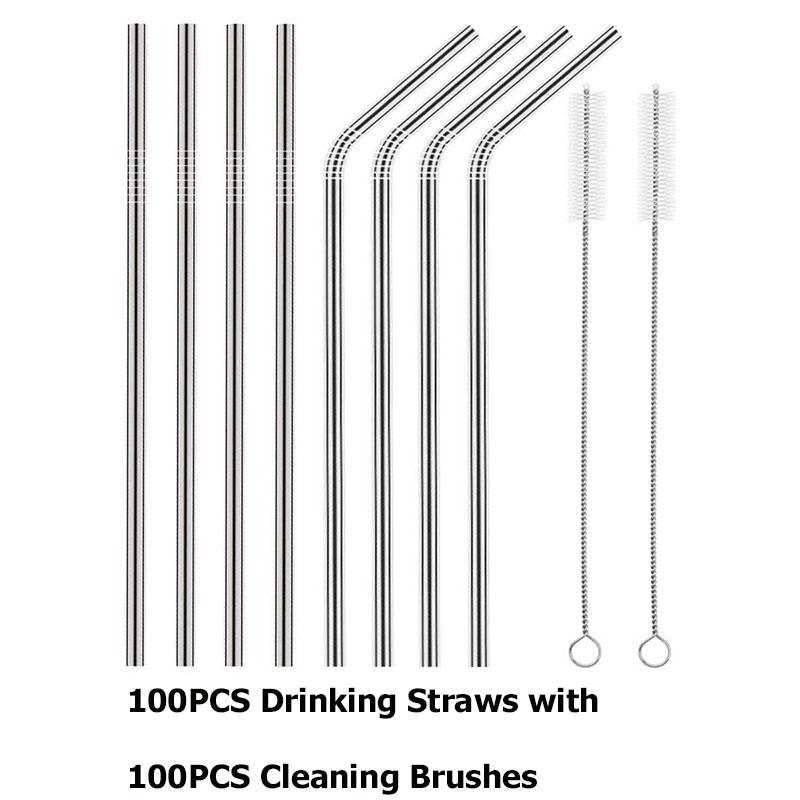 Stainless Steel Drinking Straws Metal Straws Include 100PCS Drinking Straws with100PCS Cleaning Brushes