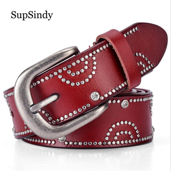 SupSindy ホット女性の本革ベルトパンクラインストーンリベットの高級メンズレディースレザーストラップ女性高品質女性ベルト