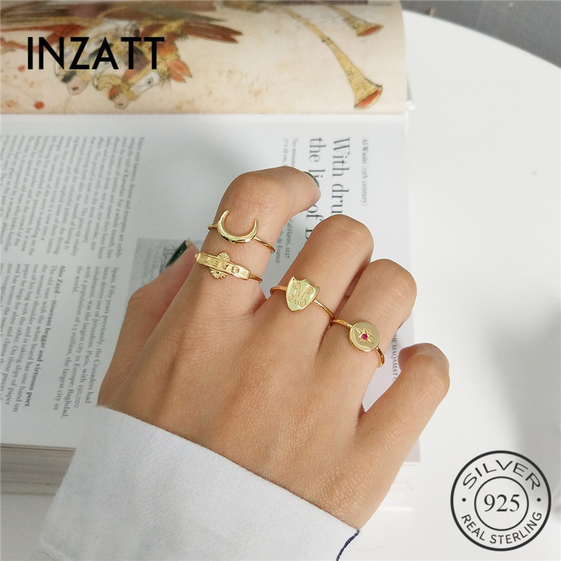 INZATT Real 925 Sterling Silver Resizable Ring Moon Star Shield Baby Initial Letter For Fashion Women Boho Fine  Jewelry
