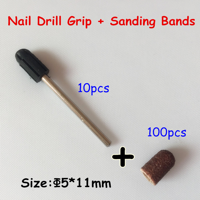 5*11mm 100pcs nail Sanding Bands cap +10pcs Nail Art Salon Rubber Grips handle Drill Accessories For Nail Drill Machine
