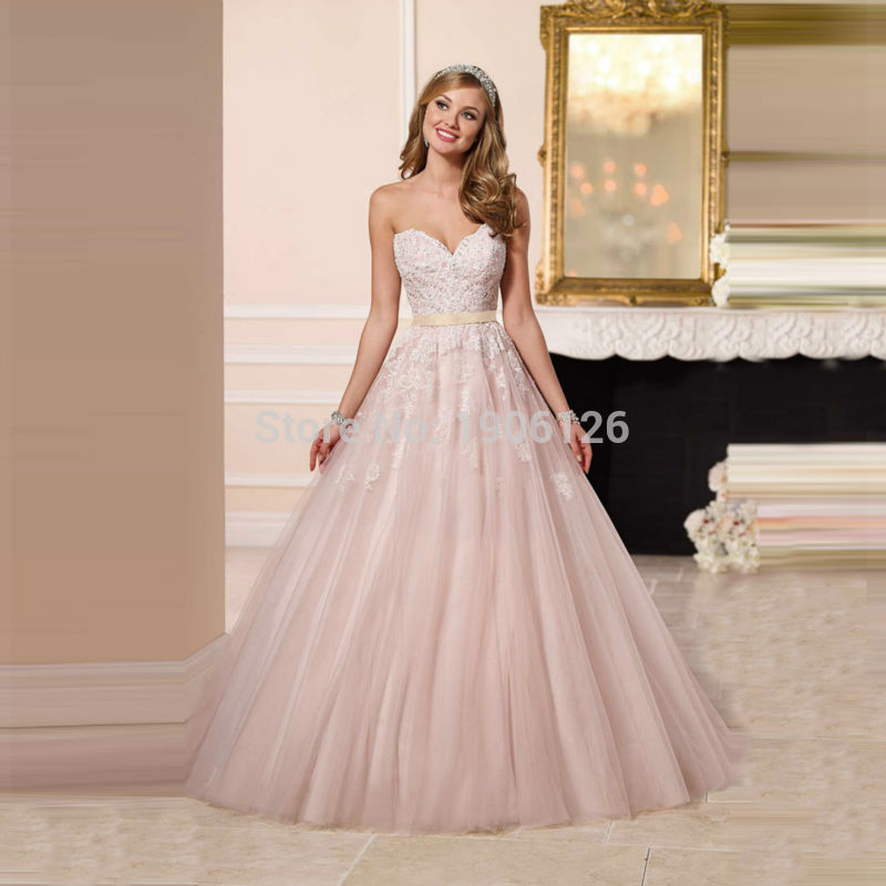Blush Pink Princess Wedding Dress Lace Bridal Gown Tulle