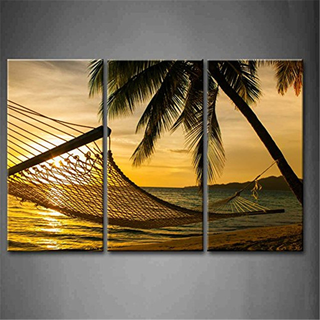 3 Panel Wall Art Hammock Silhouette With Palm Trees On A Beautiful ...