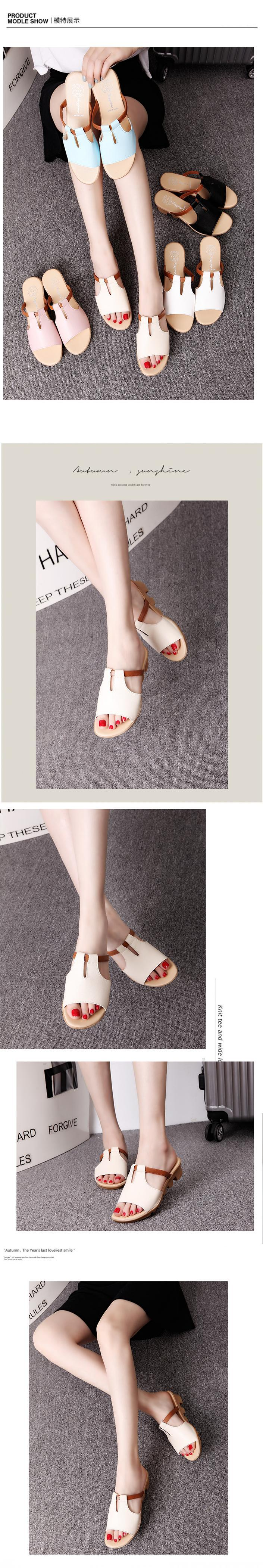 New Summer Slipper Women Slippers Slides Women Sandals Slippers Word Hollow out Women Single Sandals Non-slip Fashion B1210 12