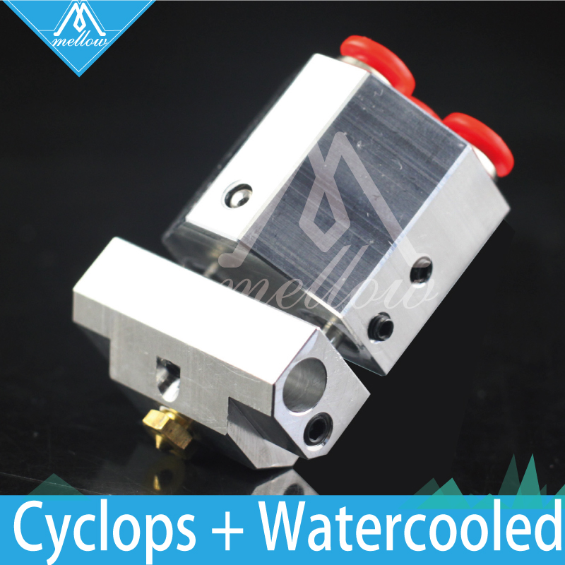Upgrade 3D Printer Extrusion E3D Cyclops+ & Chimera+ water cooled 2 in 1 out hotend Multi Color Extruder hot end kit for PT100 cyclops 2 in 1 out switching hotend multi extrusion color 3d extruder 0 5mm nozzle for 1 75mm filament