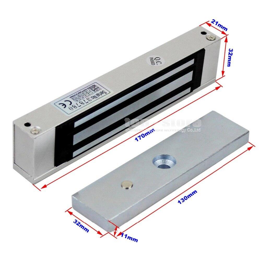 DIYSECUR 180kg Magnetic Door Lock LCD 125KHz RFID Reader Password Keypad Access Control Door Lock System Kit Security System