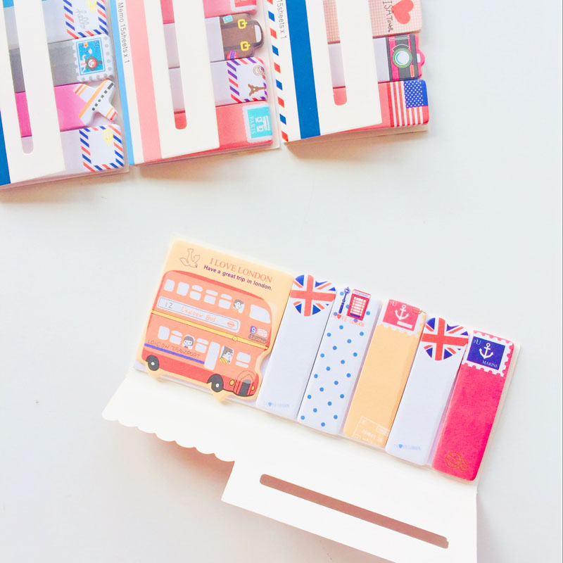 90 Sheets Kawaii I Love London Paris Travel Style Sticky Notes Memo Pad Notepad Notebook Sticker Bookmark Stick Label