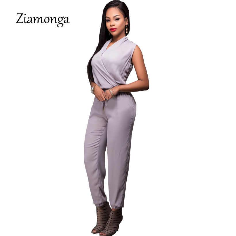 Zionga Новая мода без рукавов Глубокий v-образный вырез Элегантные Комбинезоны для женщин плюс размер комбинезона женский комбинезон сексуальный женский комбинезон