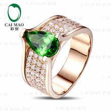 CaiMao 18KT/750 Yellow Gold 1.8 ct Natural Tsavorite & 1.15 ct Round Cut Diamond Engagement Gemstone Ring Jewelry