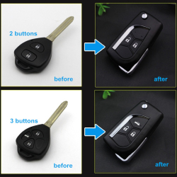 2&3 Buttons Updated Flip Remote Key Case For Toyota Crown Corolla Camry RAV4 Reiz Key Shell with Toy43 Blade