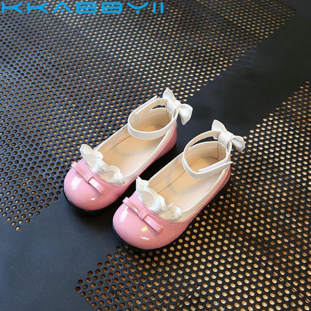 663337ee25b5ea KKABBYII Spring Autumn Kids Fashion Princess Flat Shoes Girl Bow PU Leather  Child Dance Shoes School Girl Shoe