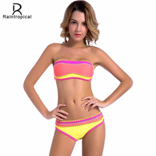 Raintropical sexy bandeau bikinis mujeres traje de baño empuja hacia arriba el traje de baño 2017 más nuevo ganchillo hecho a mano brasileño bikini set traje de baño
